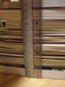 買った本の総数の厚さ。